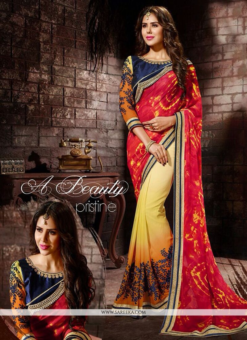 Print Work Red and Yellow Designer Saree
