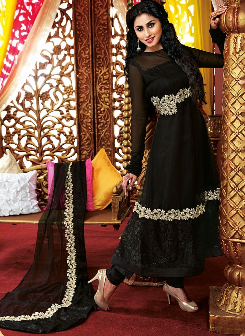 Eyeful Black Resham Work Faux Georgette Anarkali Suit