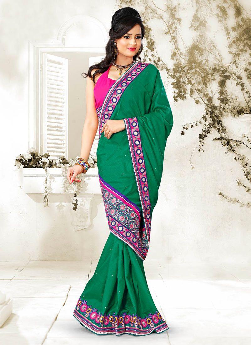 Eyeful Green Manipuri Silk Saree