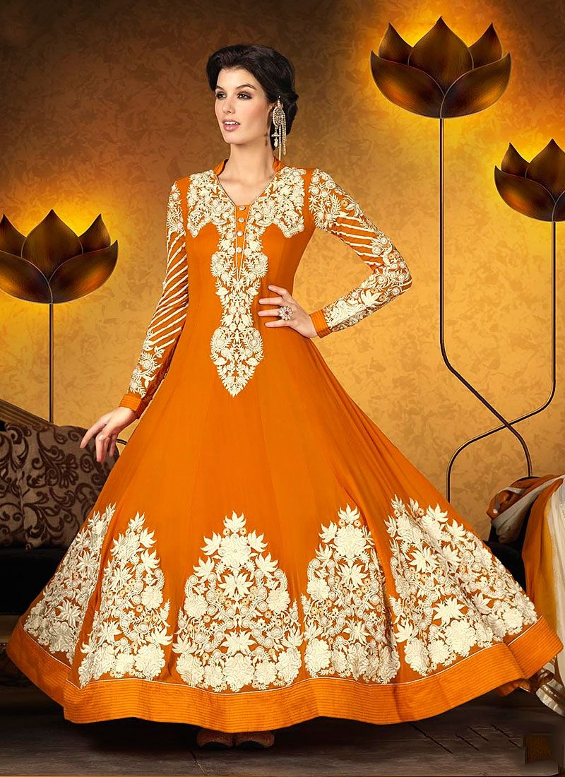 Eyeful Mustard Resham Work Georgette Anarkali Suit
