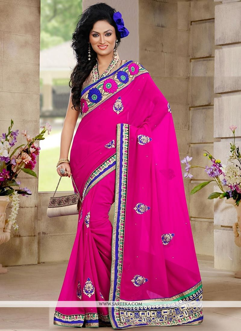 Eyeful Pink Georgette Designer Saree