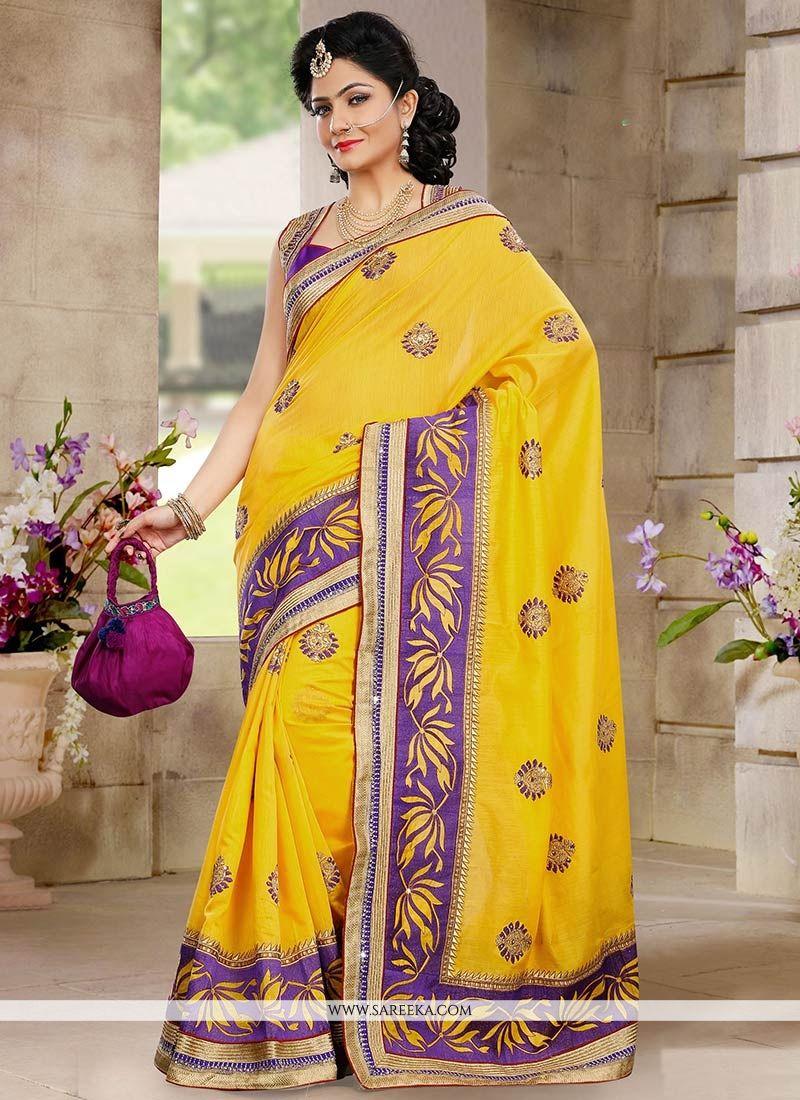 Eyeful Yellow Chanderi Silk Saree