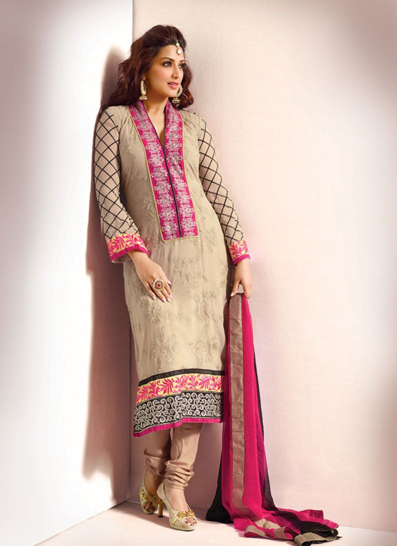 Beige Resham Patch Border Work Churidar Suit