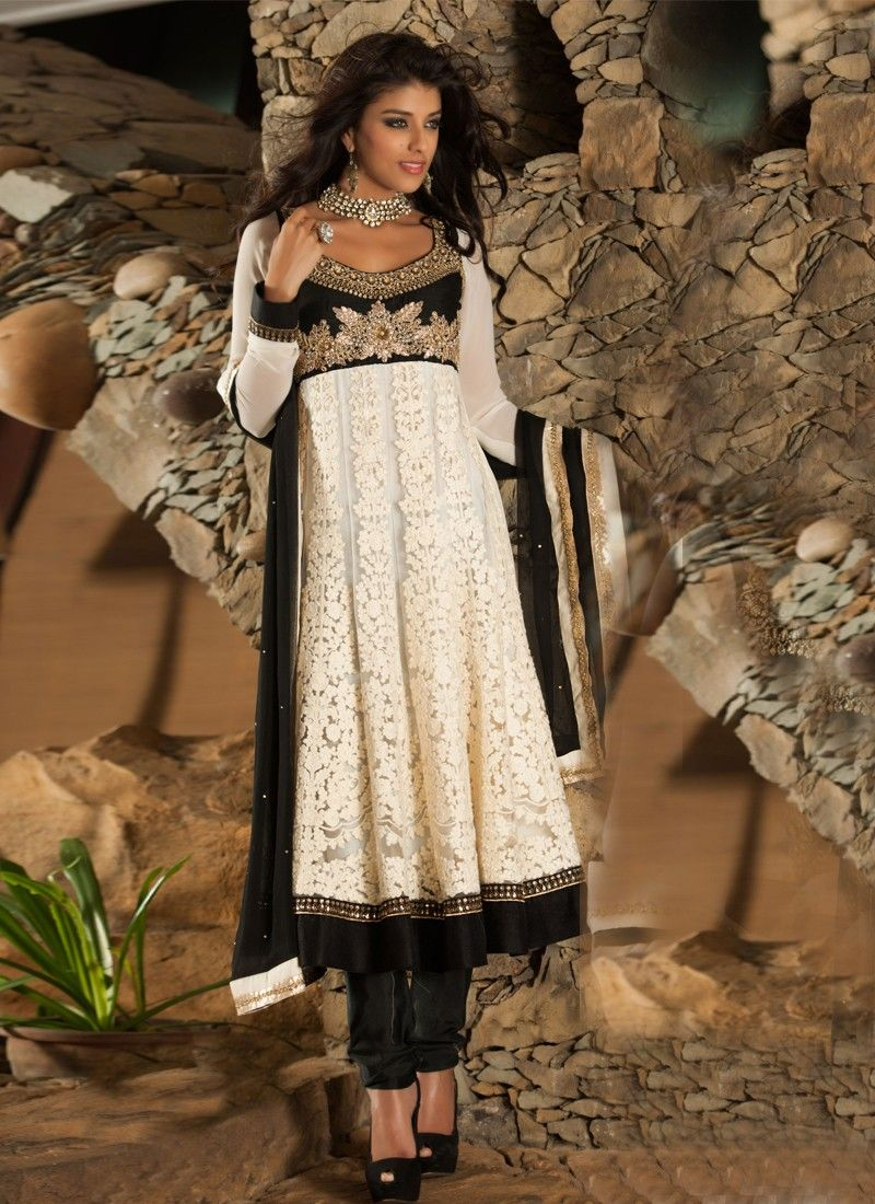 Black And Off White Net Churidar Suit