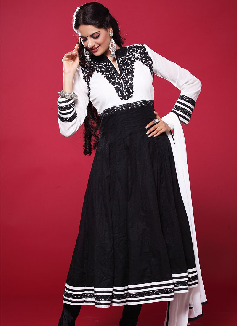 Black And White Resham Work Anarkali Salwar Suit