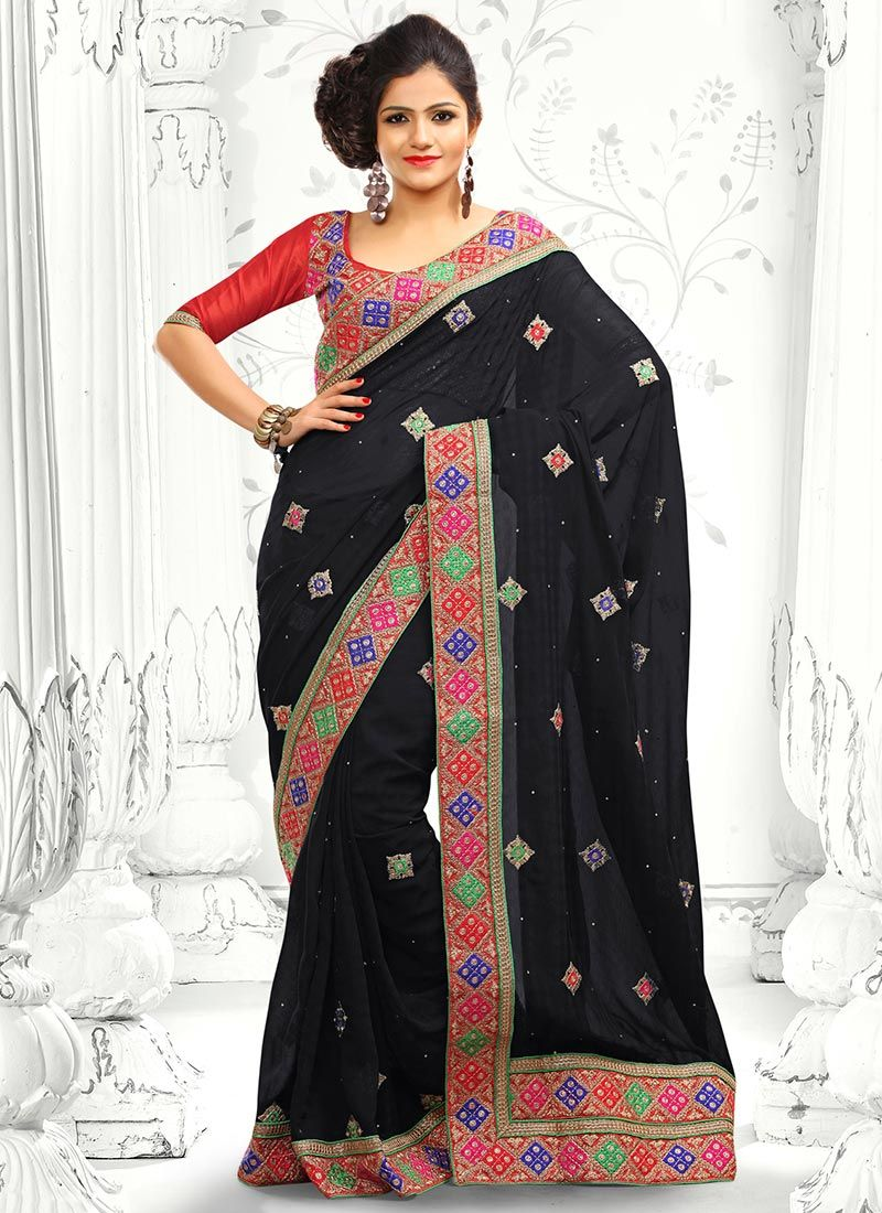 Black Applique Work Designer Saree