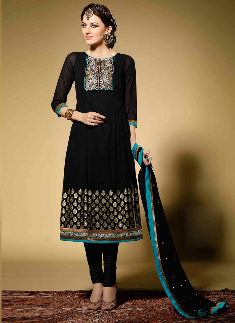 Black Colour And Stone Work Designer Suit -