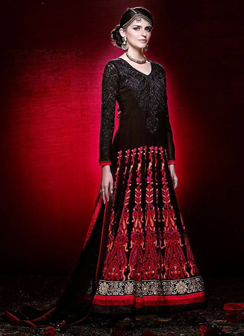 Black Faux Georgette Pakistani Style Anarkali Suit