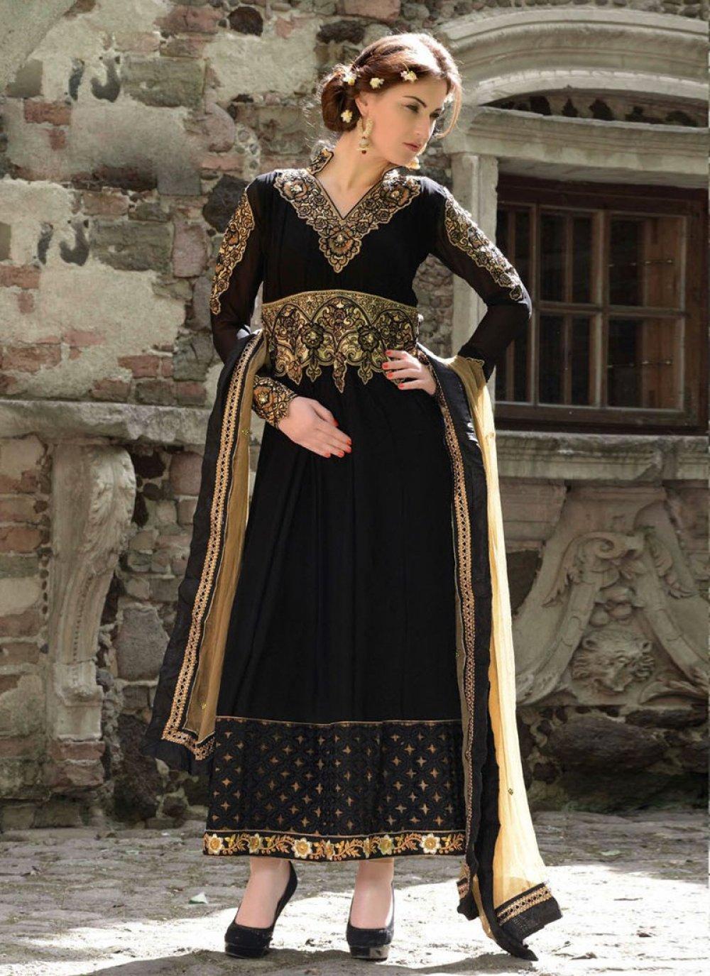 Black Zari Work Faux Georgette Anarkali Suit