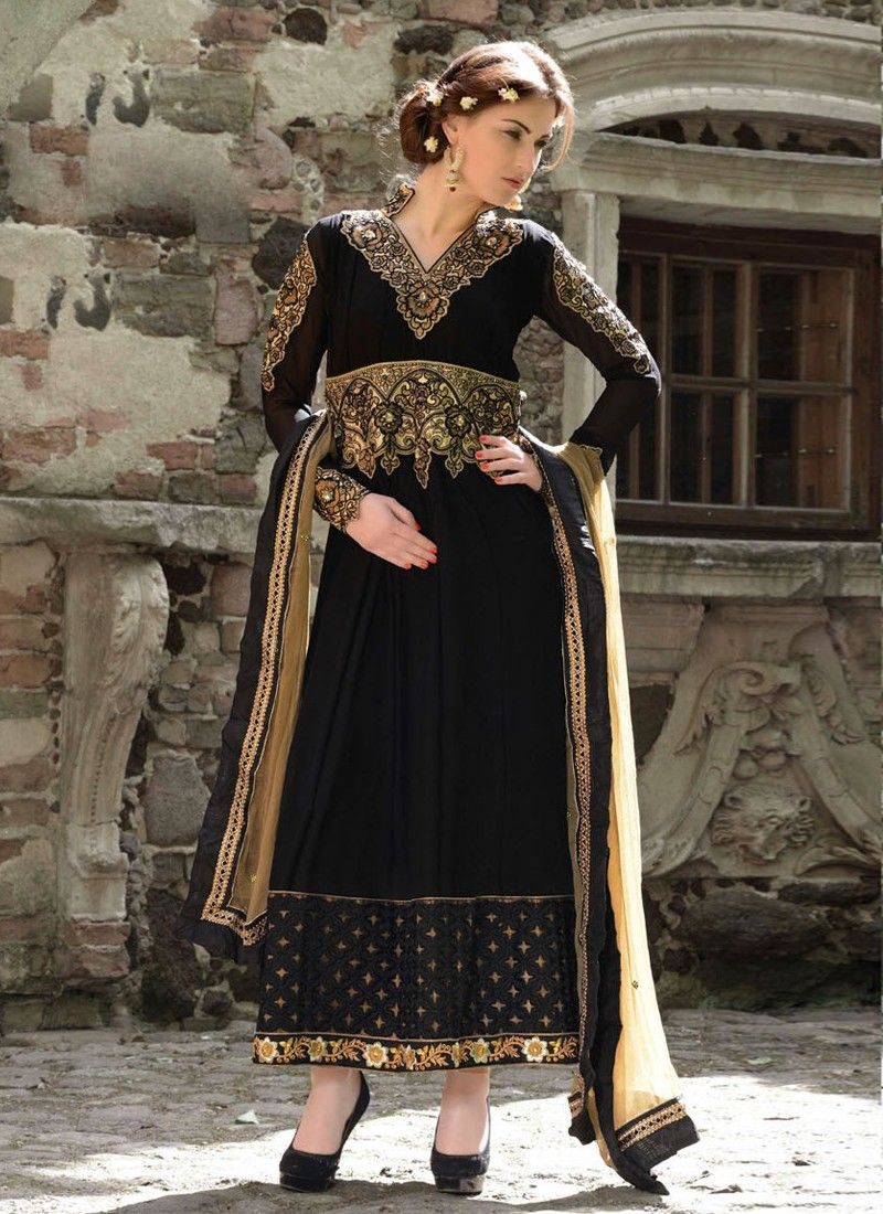 Black Zari Work Faux Georgette Anarkali Suit