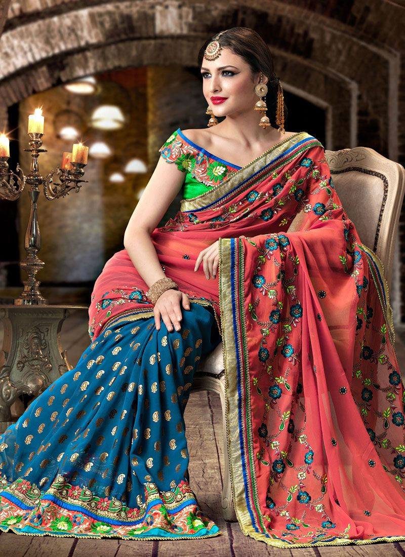 Block Printed Georgette Saree
