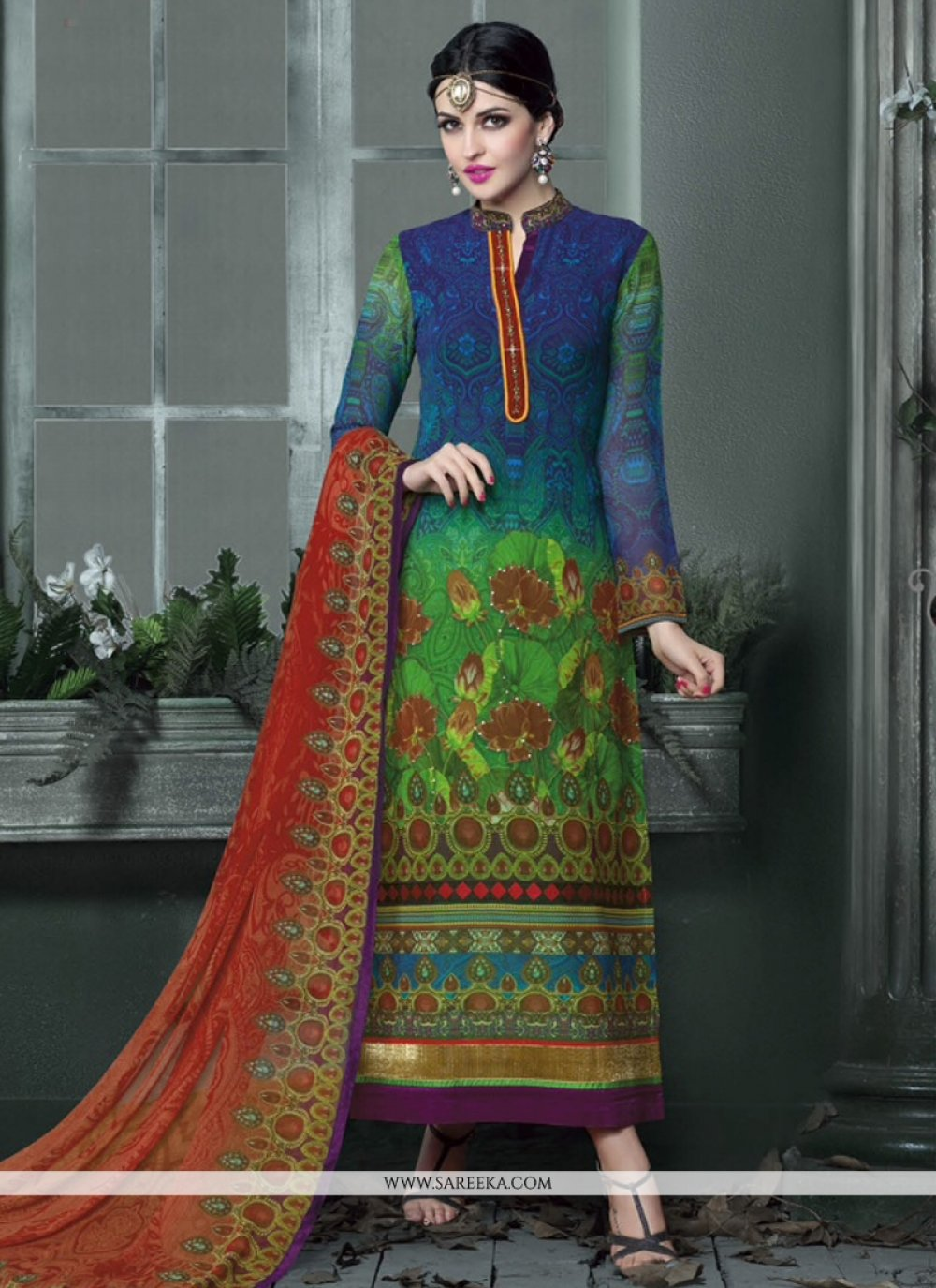 Blue And Green Georgette Pant Style Suit