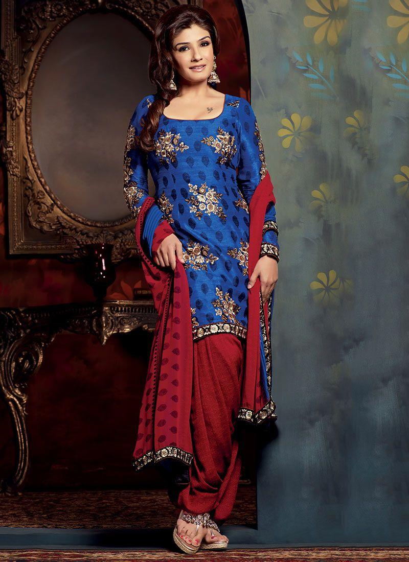Blue Bhagalpuri Silk Salwar Suit