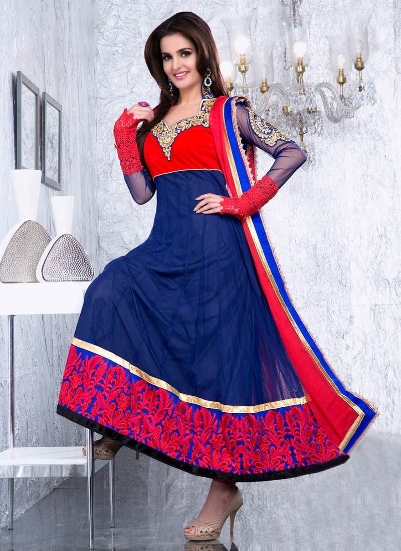 Blue Net Ankle Length Anarkali Suit