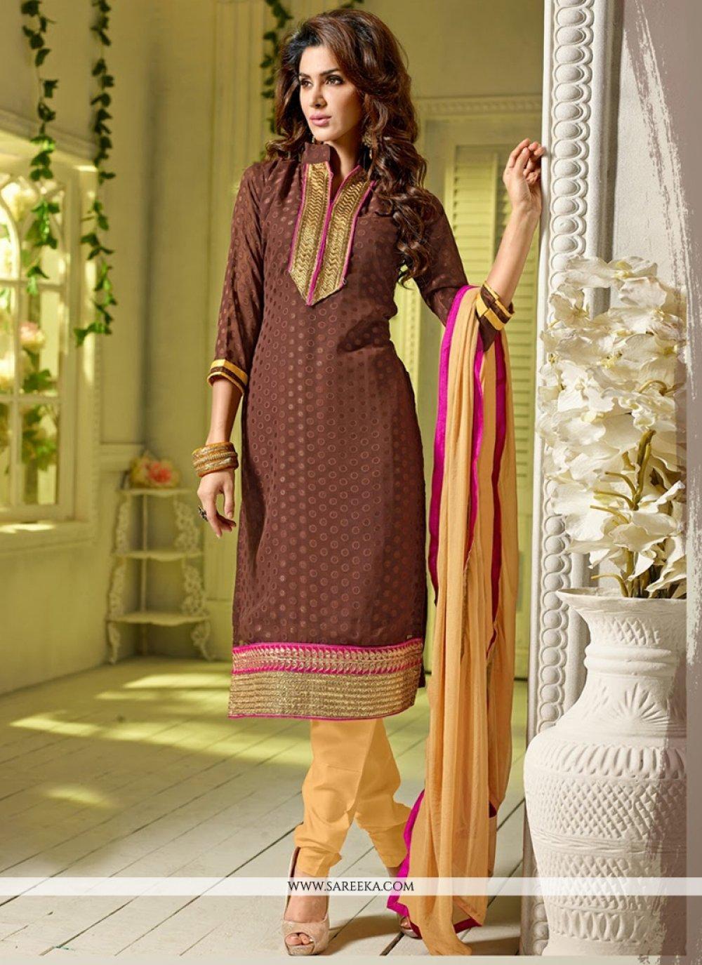 Brown Pure Jacquard Churidar Suit