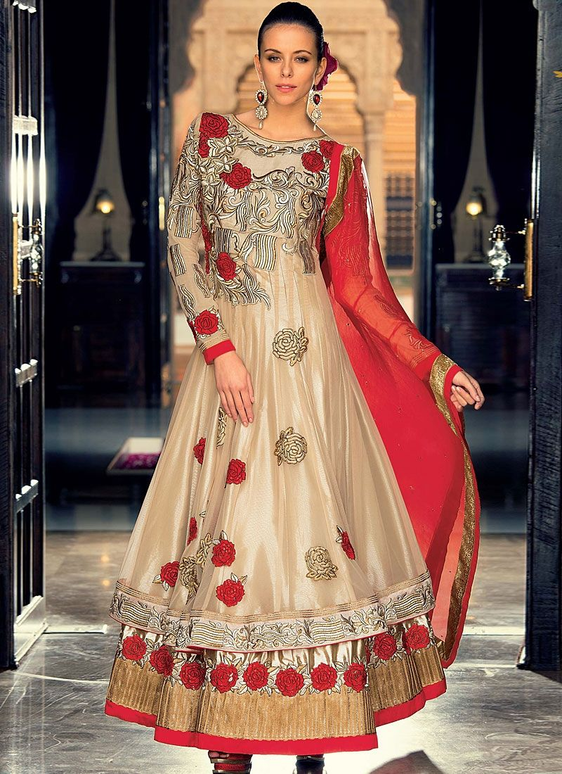 Brown Resham Work Soft Net Anarkali Suit