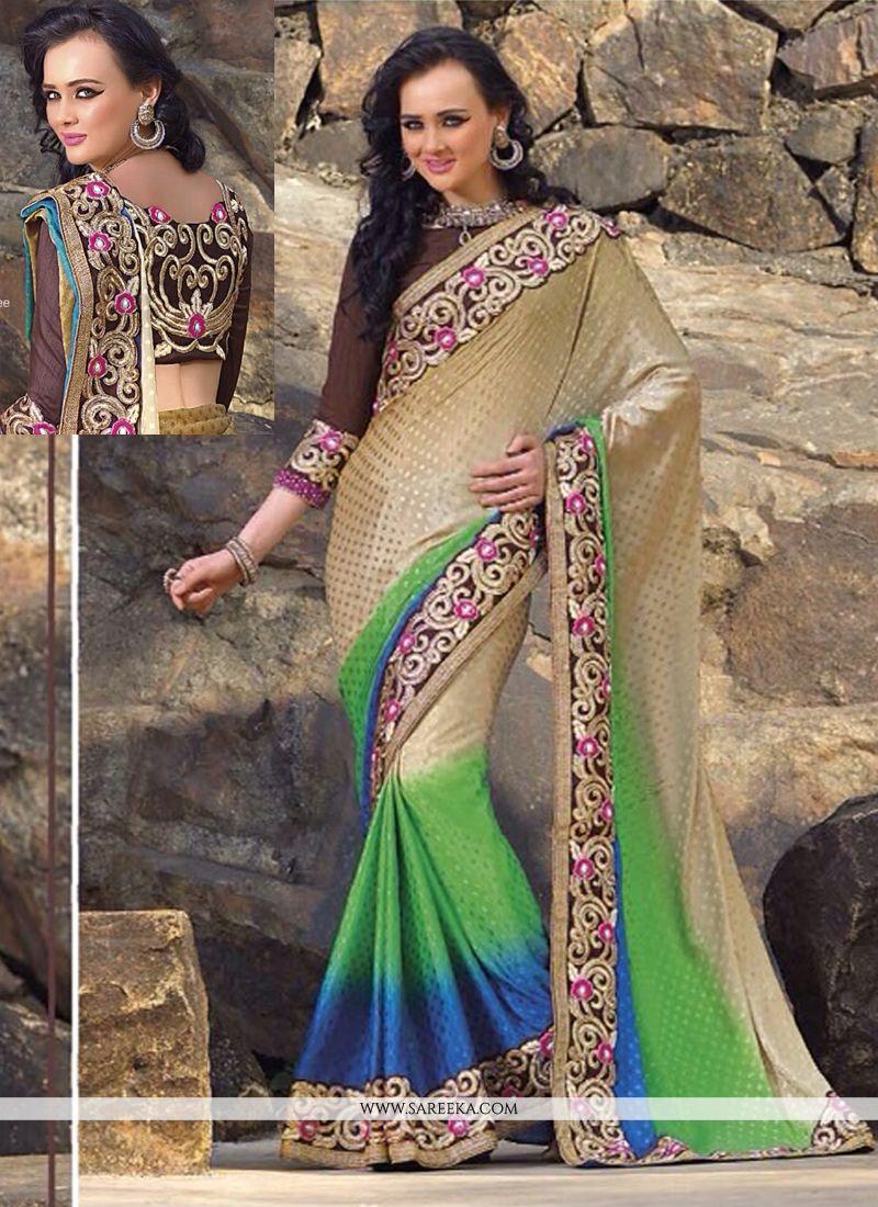 Cream And Green Shaded Jacquard Designer Saree