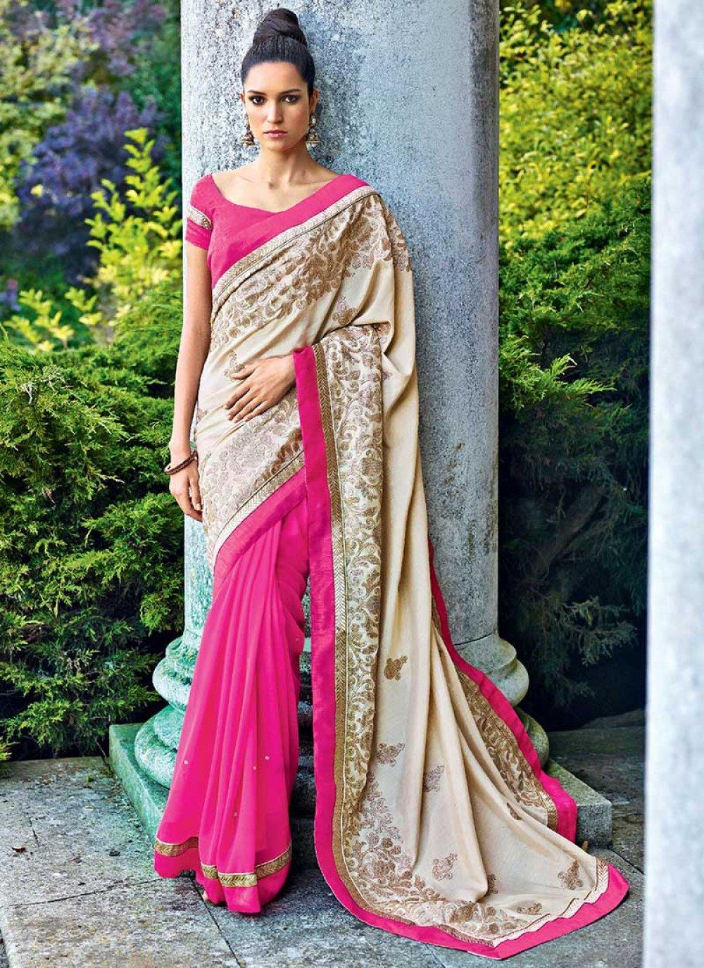 Cream And Pink Georgette Designer Saree