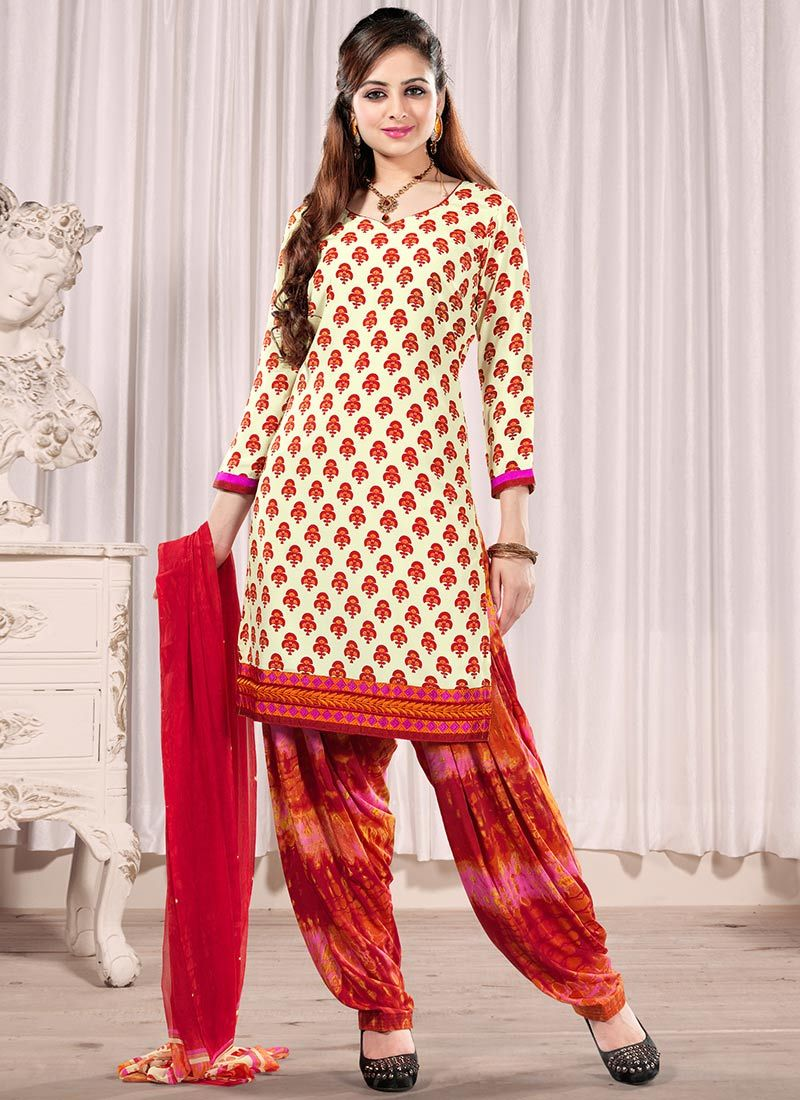 Cream And Red Faux Crepe Salwar Suit