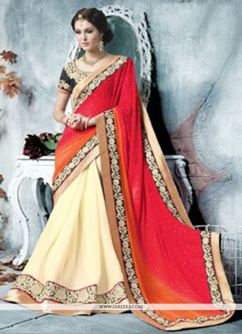 Cream And Red Georgette Saree