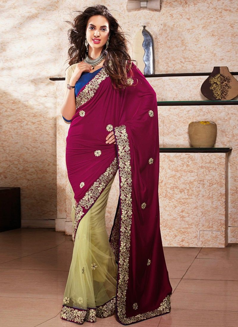 Cream And Wine Net Wedding Saree