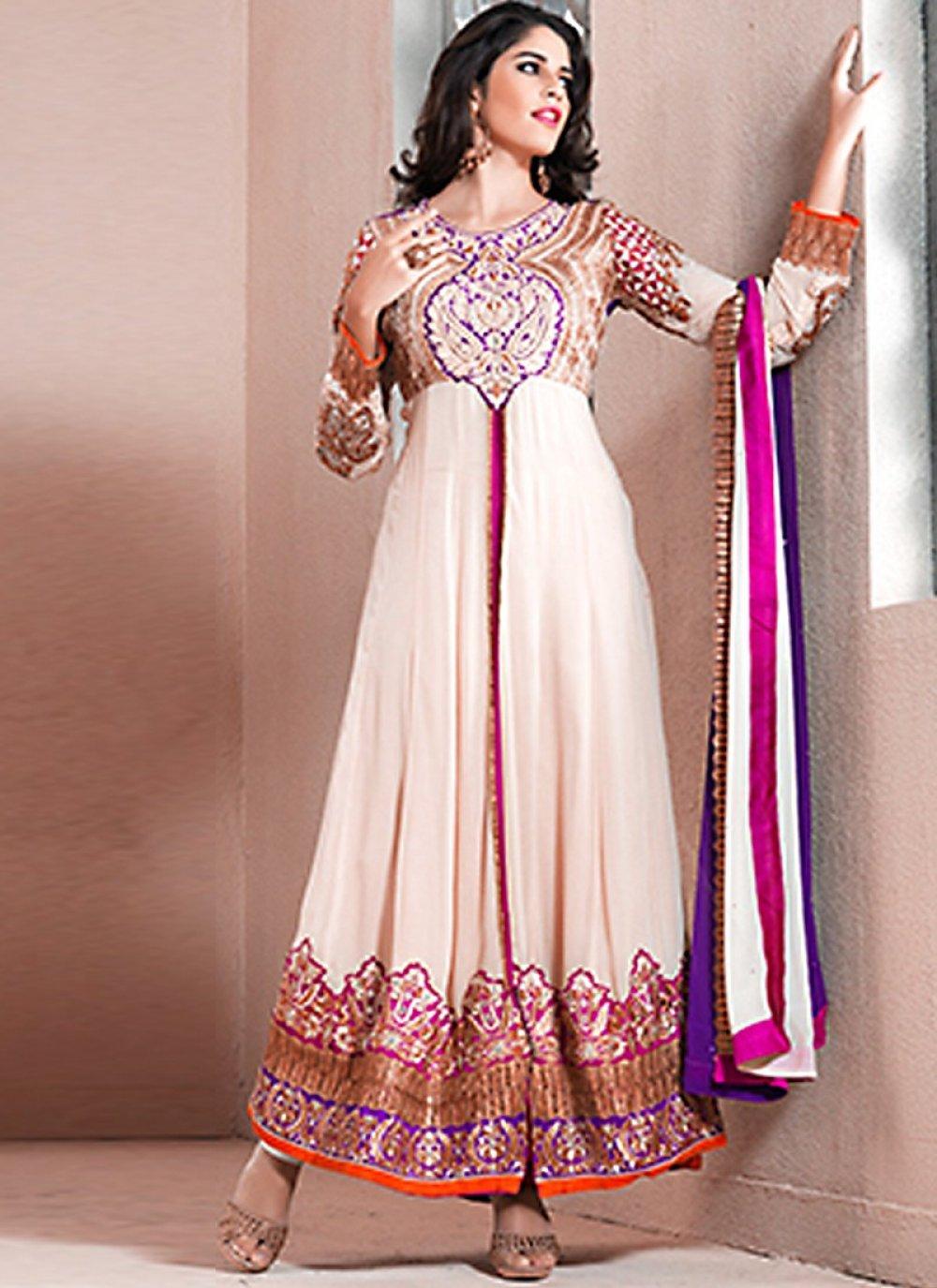 Cream Faux Georgette Anarkali Suit