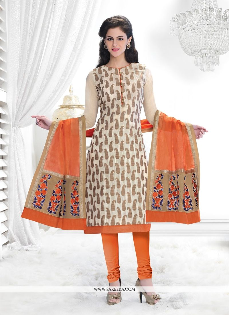 Cream Lace Work Chanderi Churidar Salwar Suit
