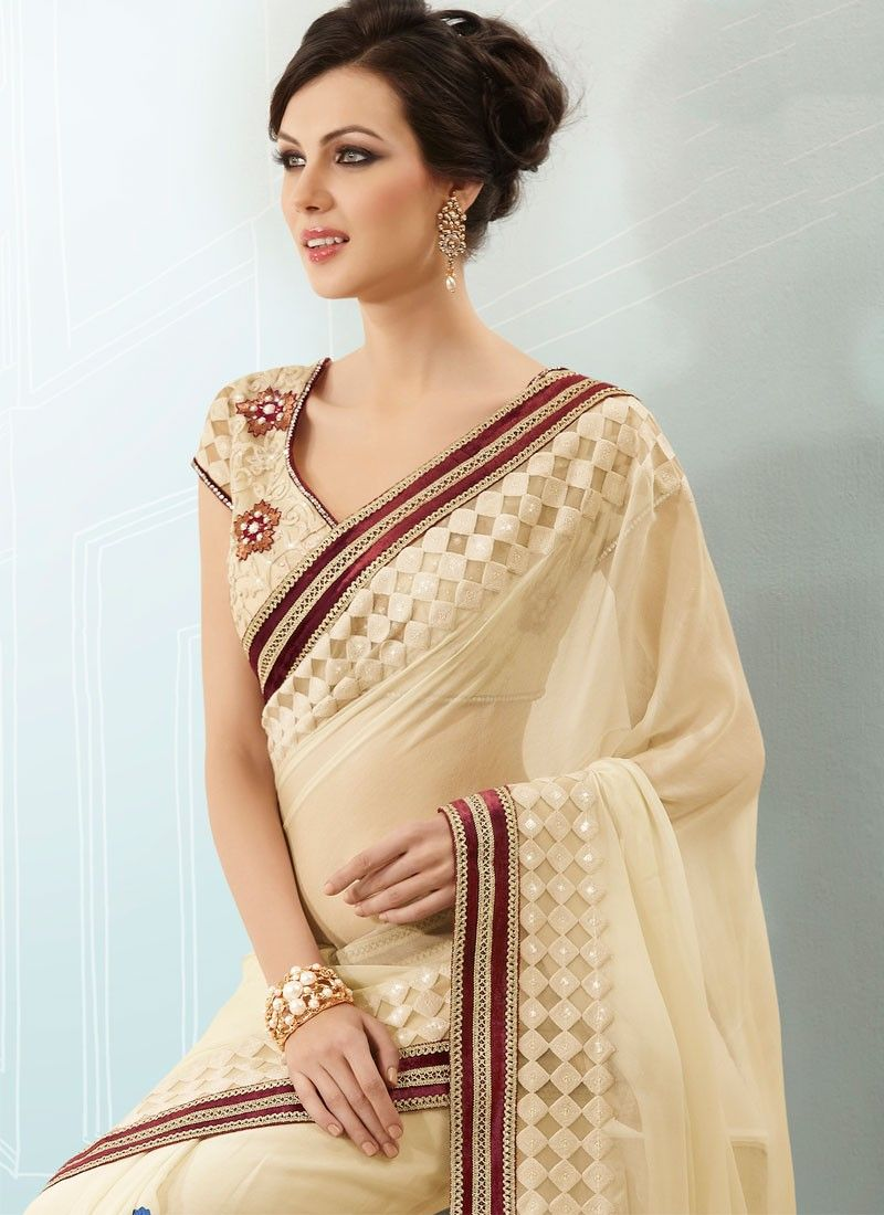 Cream Resham Embroidered Georgette Saree