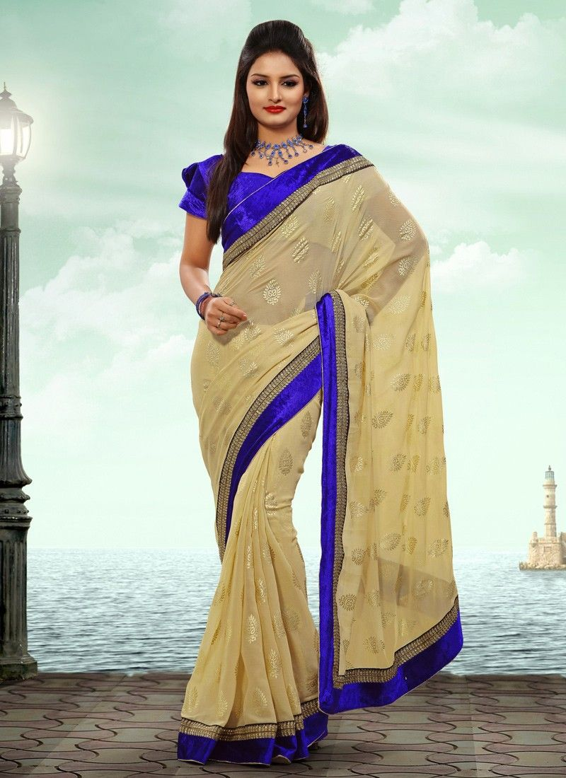 Cream Velvet Wedding Saree