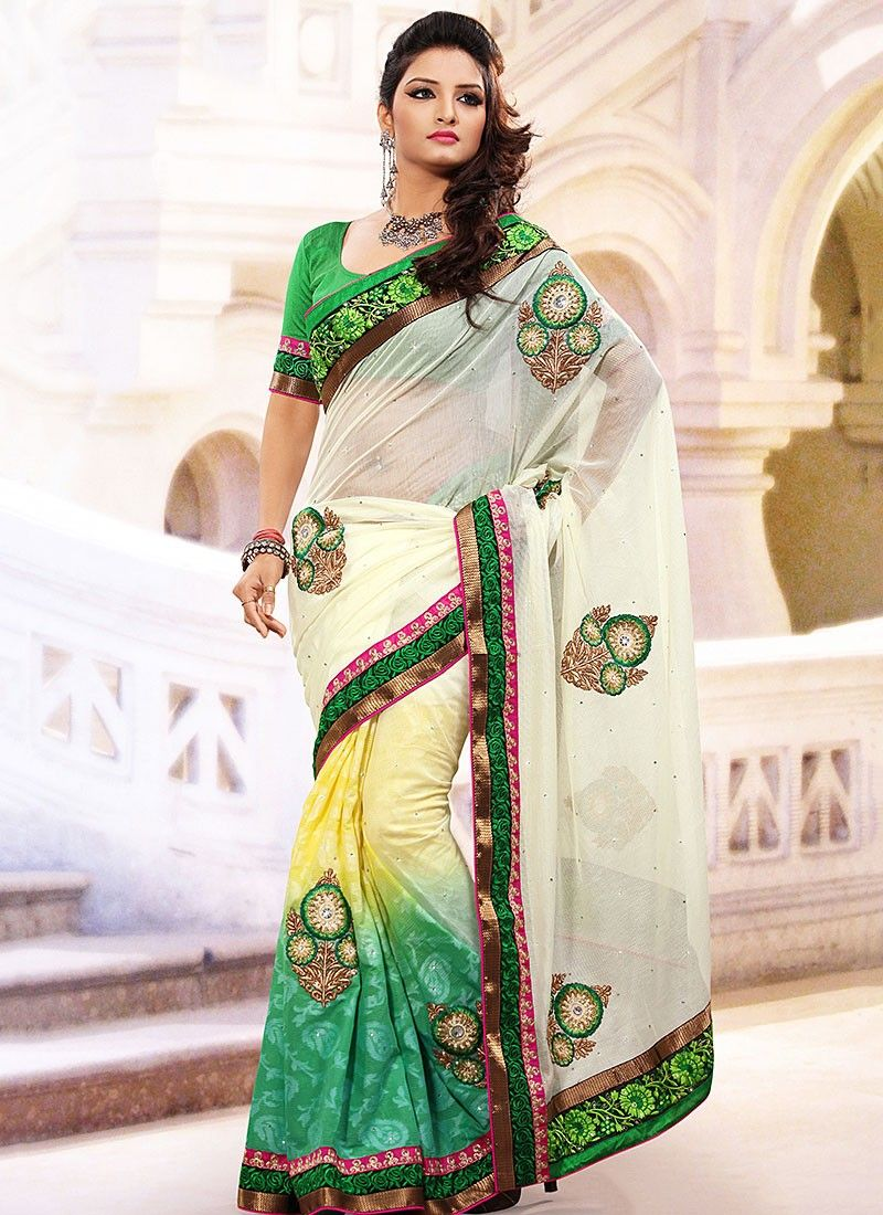 Green And Cream Half And Half Saree