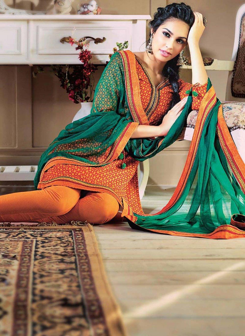 Green And Orange Printed Cotton Churidar Suit