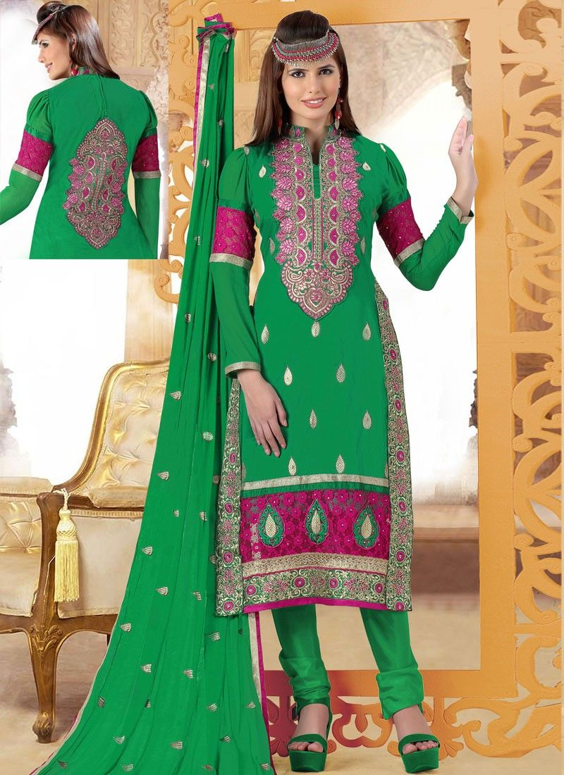 Green Cotton And Net Churidar Suit