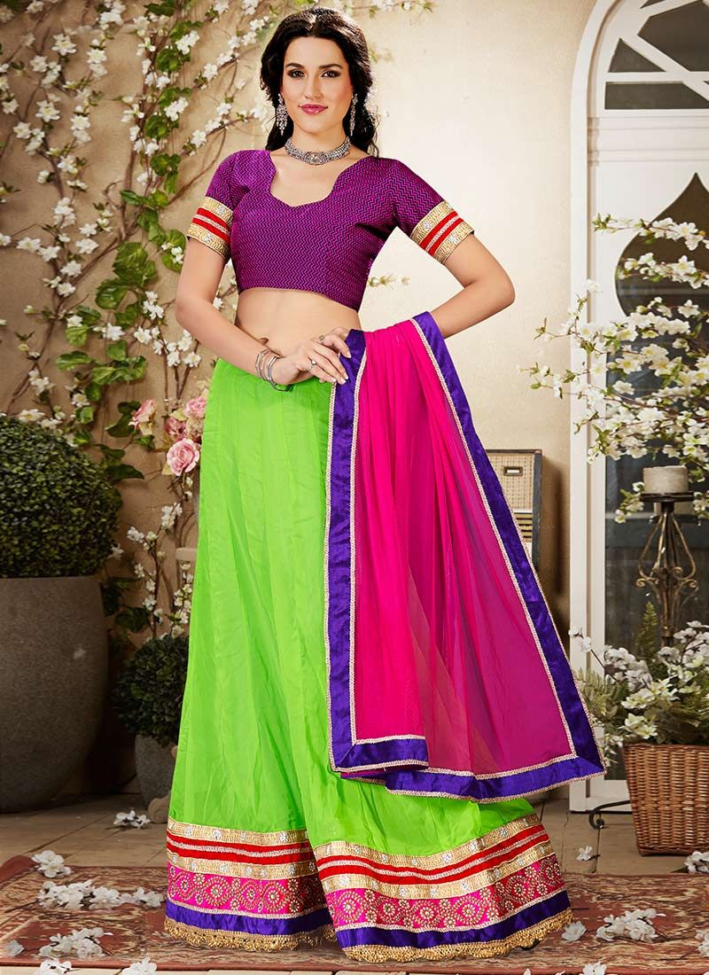 Green Georgette Lehenga Choli
