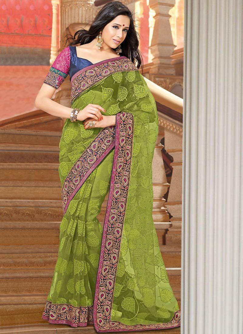 Green Jacquard Party Wear Saree