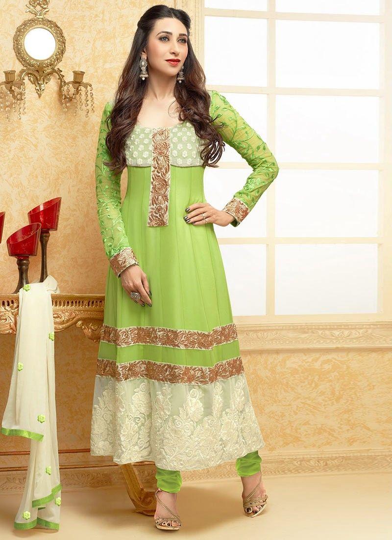 Green Resham Work Georgette Churidar Suit