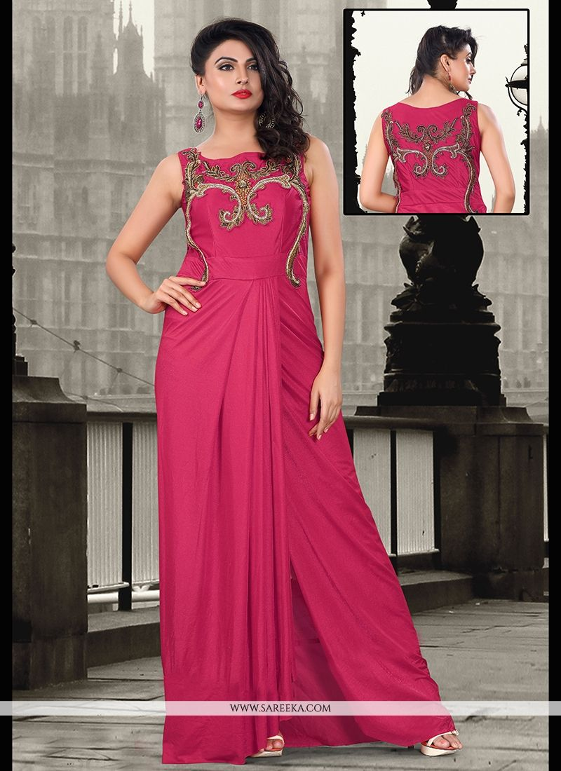 Hot Pink Lycra Floor Length Gown