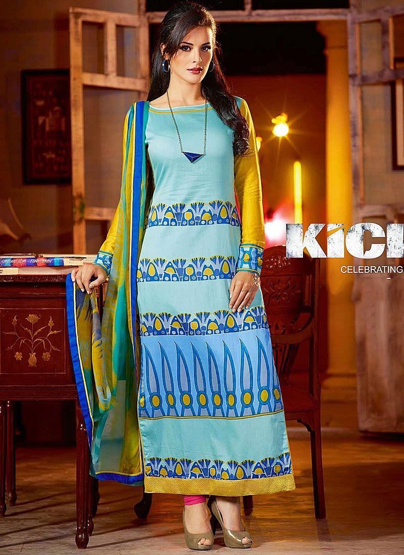 Kick Movie Blue Cotton Printed Churidar Suit