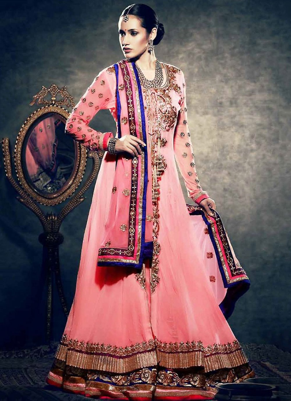 Light Pink Net Lehenga Choli
