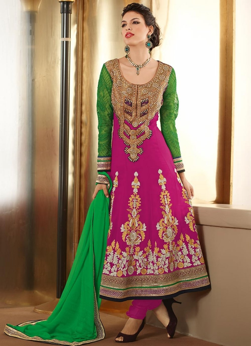 Magenta And Green Faux Georgette Designer Anarkali Suit