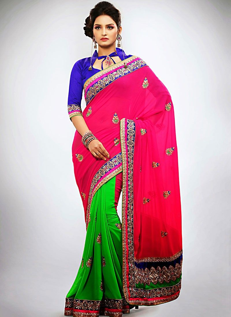 Magenta And Green Georgette Half And Half Saree
