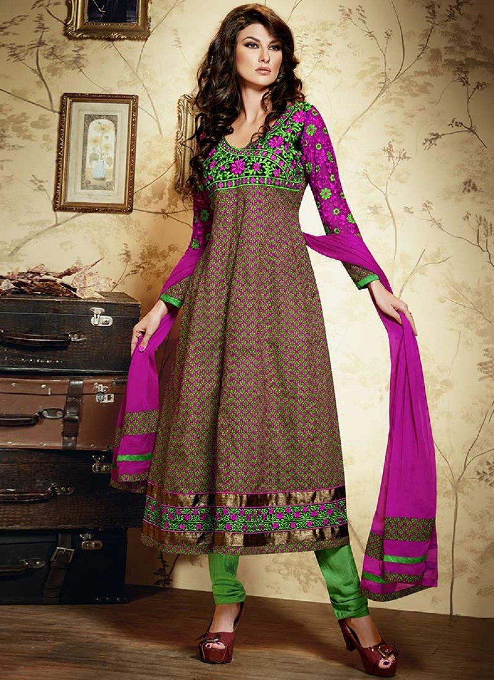 Magenta And Green Printed Cotton Churidar Suit