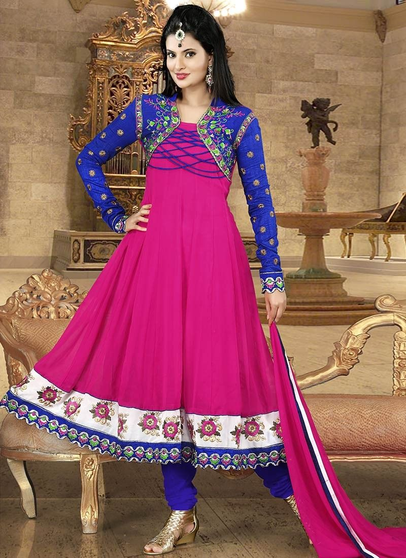 Magenta Embroidered Georgette Anarkali Suit