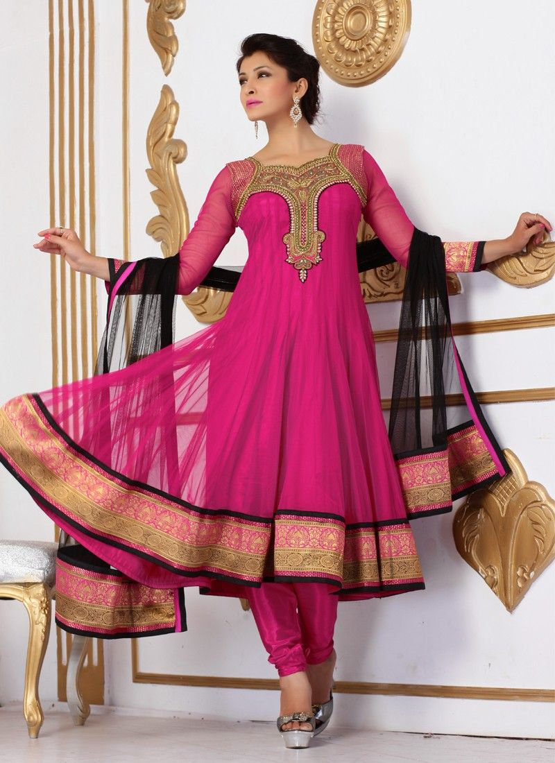 Magenta Embroidery Net Anarkali Suit
