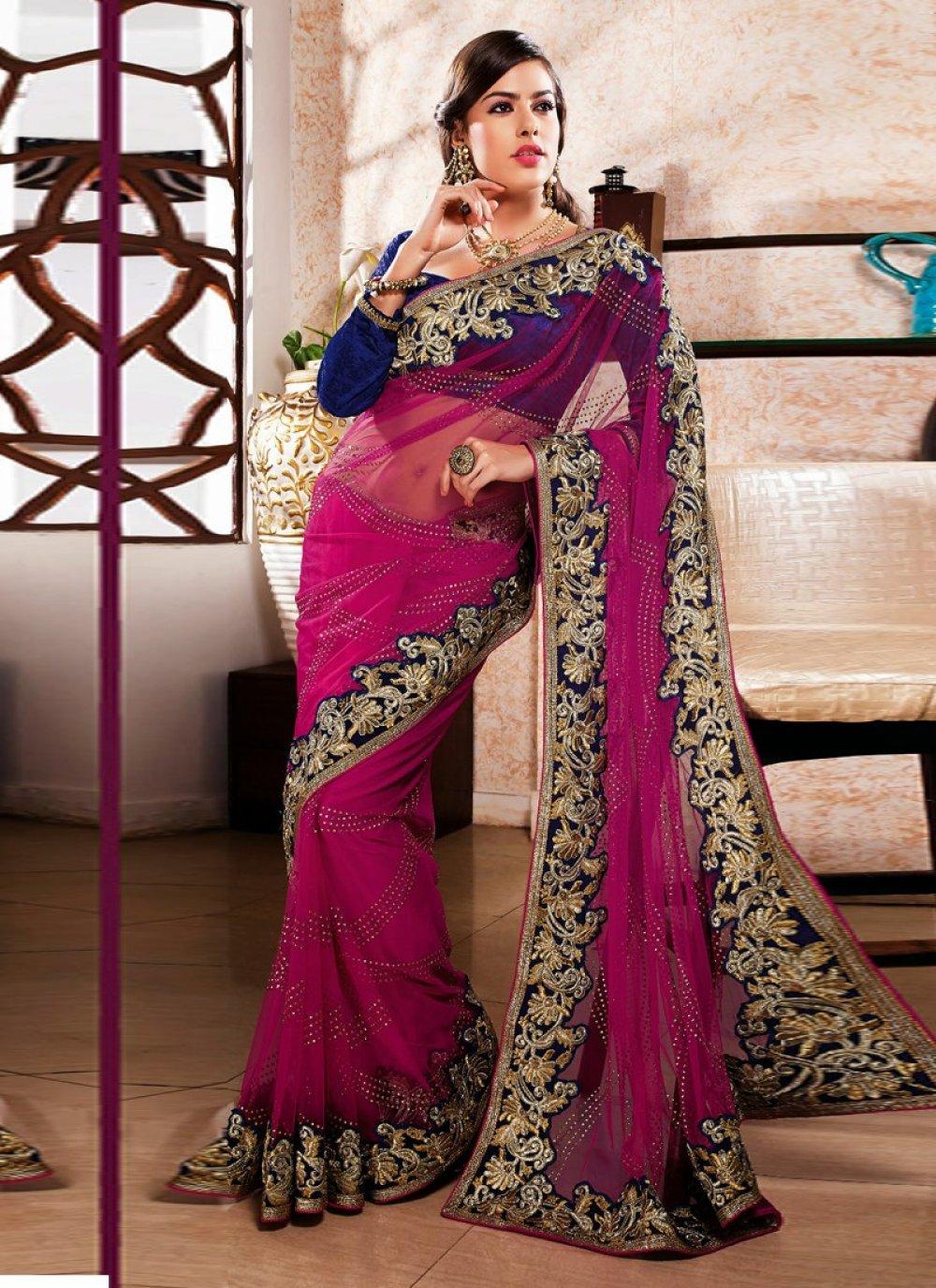 Magenta Net Velvet Designer Saree