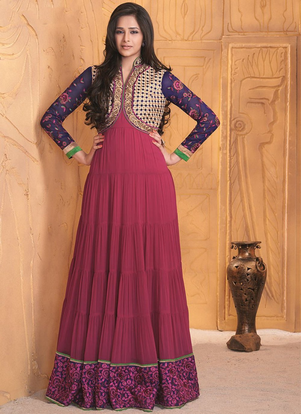 Magenta Patch Border Work Length Anarkali Suit
