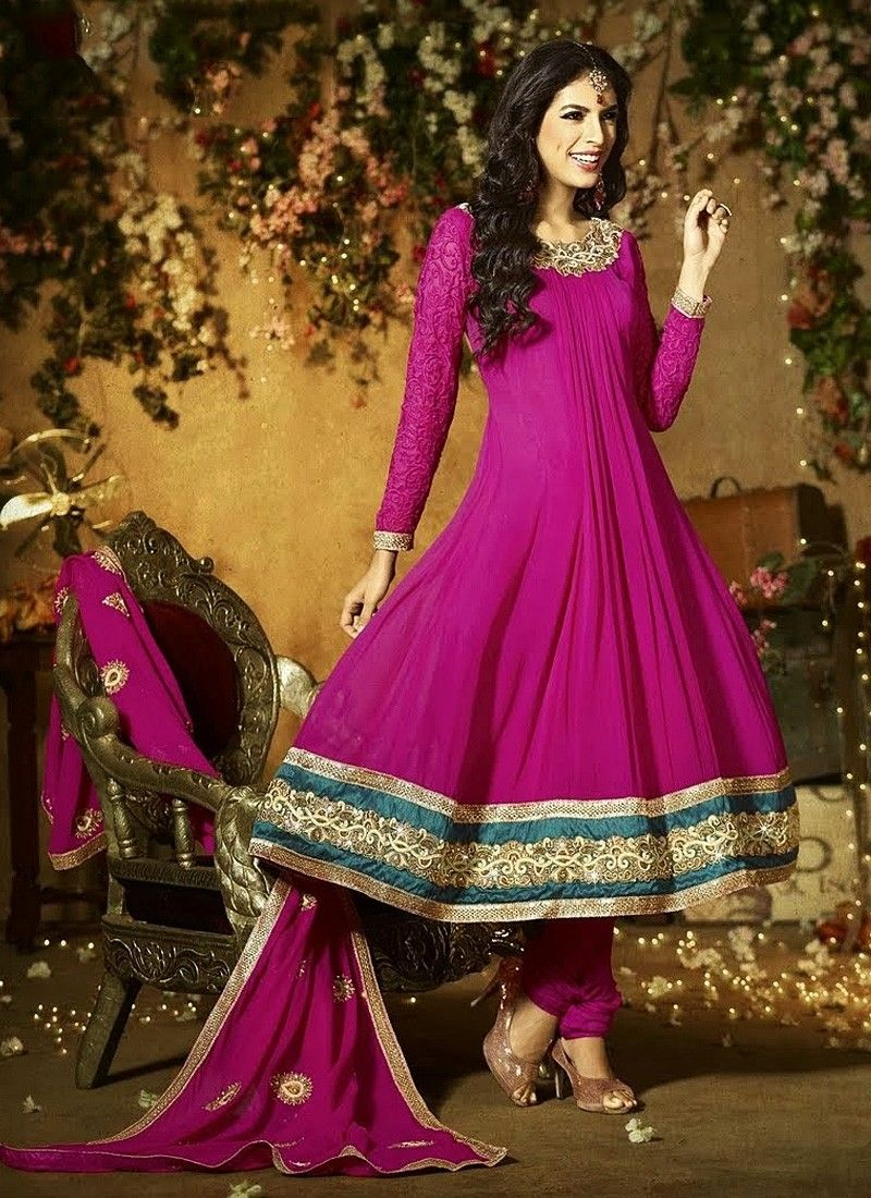 Magenta Pure Georgette Anarkali Suit