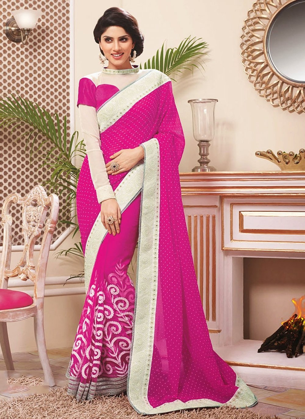 Magenta Resham Work Saree