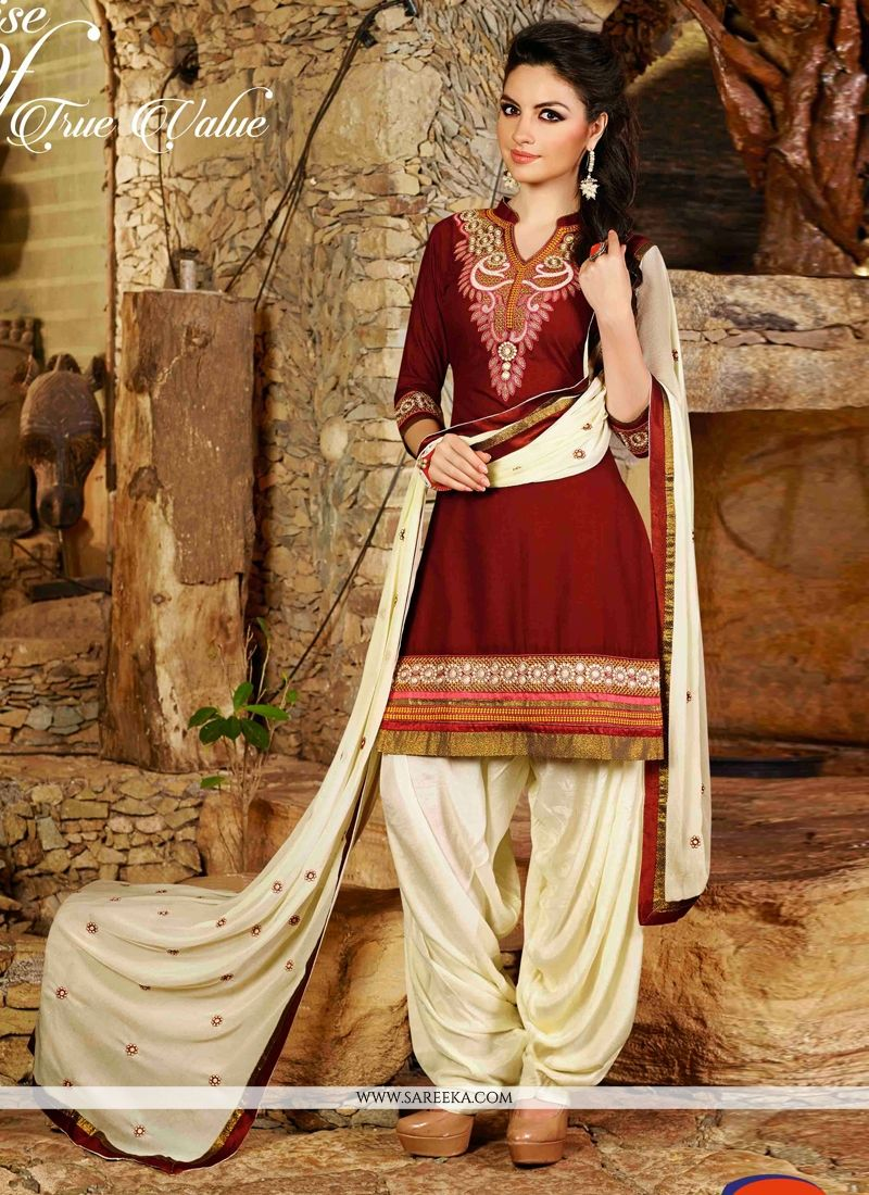 Maroon Cotton Punjabi Suit