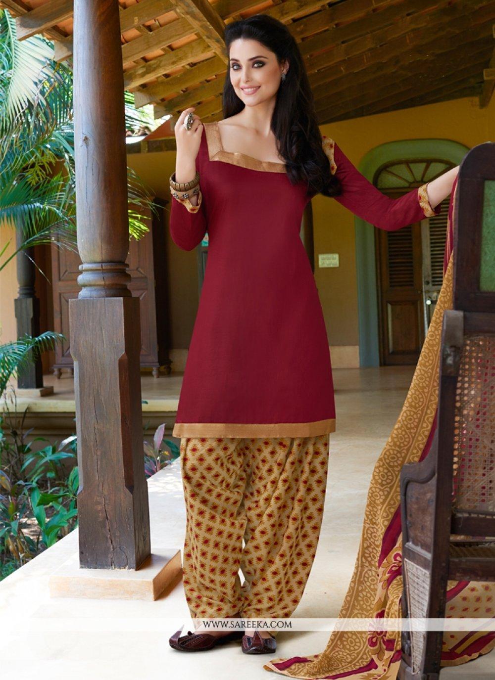 Maroon Cotton Satin Punjabi Suit