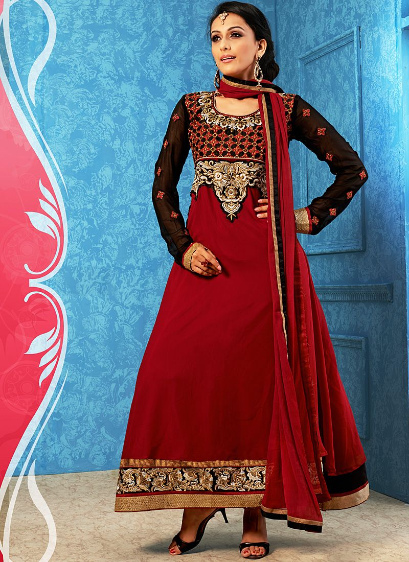 Maroon Embroidery Work Anarkali Salwar Suit